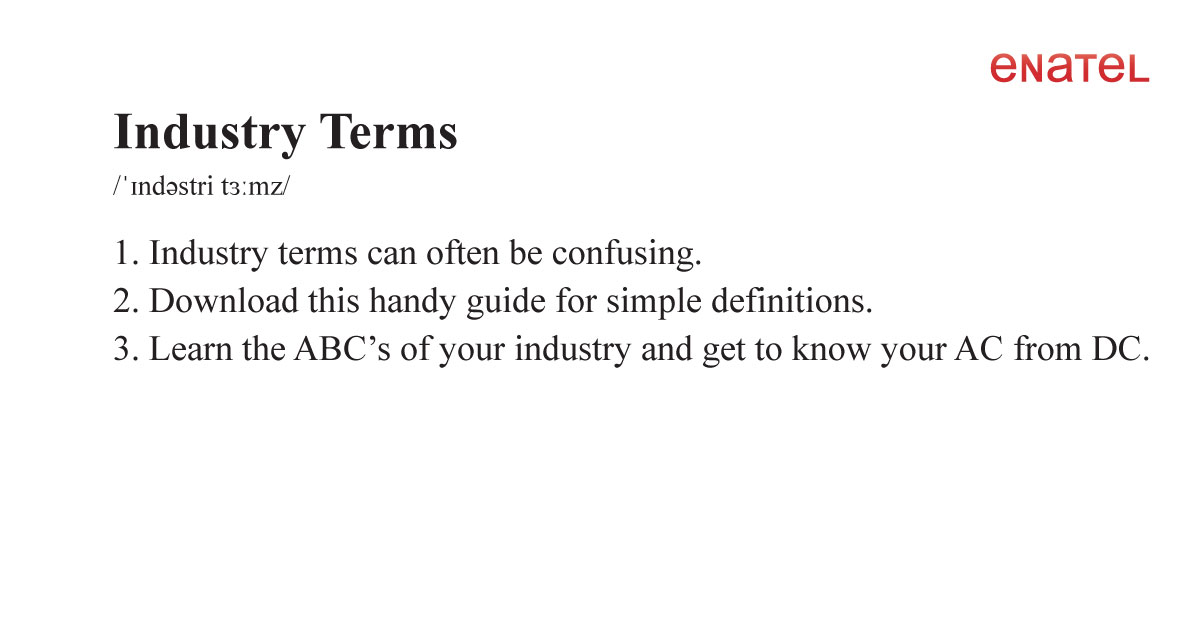 DC Power Industry Terms